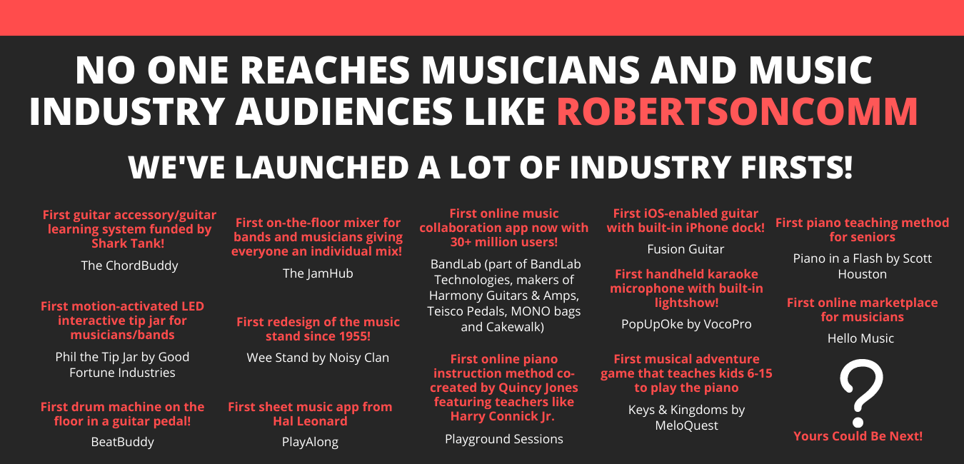 No one reaches musicians and music industry audiences like RobertsonComm(1)